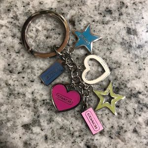 Coach multicolored heart and star keychain